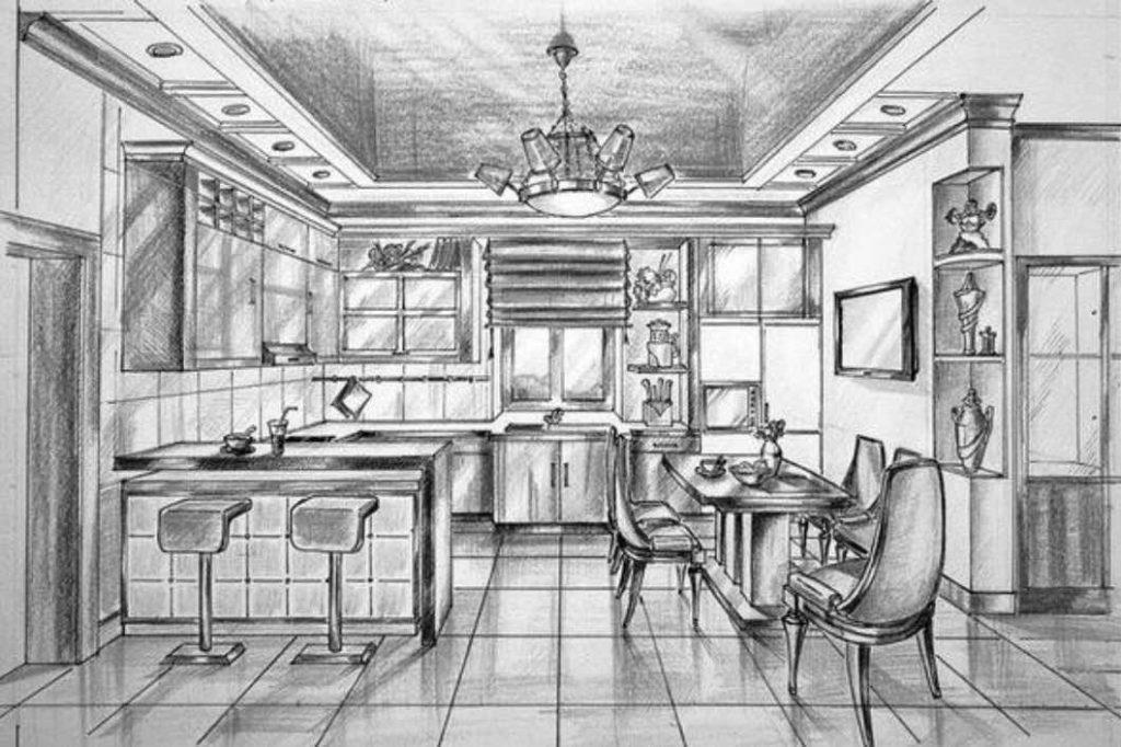 Кухня рисованная от руки